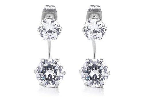B.Yond Silver CZ Double Stud Earring
