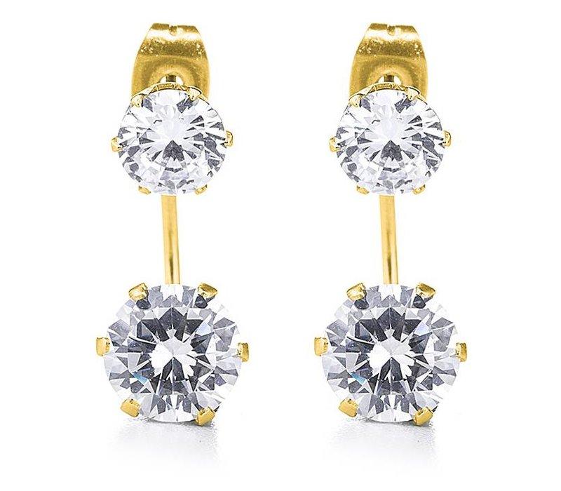Gold Cz Double Stud Earring