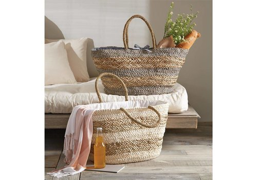 Striped Basket Tote Tan