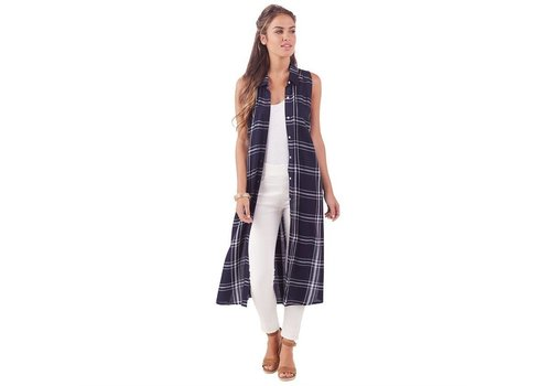 Jamie Plaid Button Down -  Navy and White
