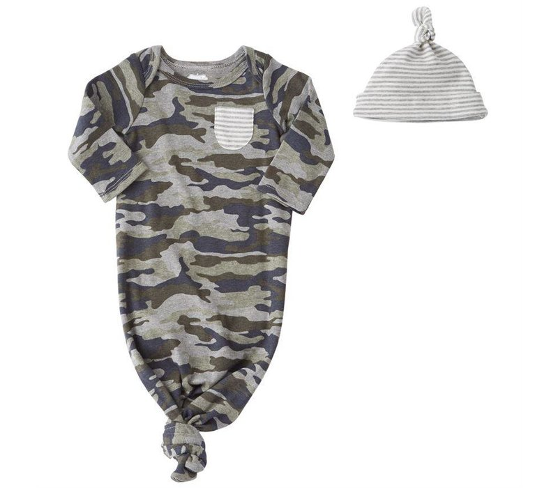 Camo Sleep Gown and Cap Set