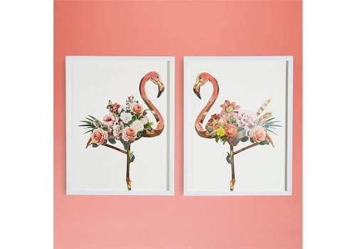 "Two's Company Flamingo Collage Wall Art- 2 Piece Set 25.5"" width x 32.5"" height  i"