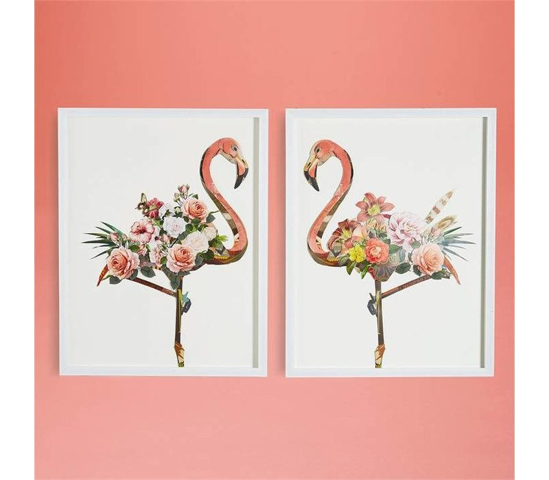 "Flamingo Collage Wall Art- 2 Piece Set 25.5"" width x 32.5"" height  i"