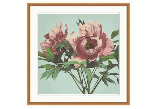 Wendover Art Pink Floral on Aqua 1- Wall Art (In store)