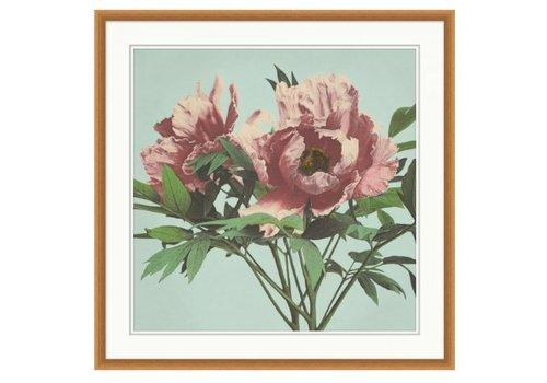 Wendover Art Pink Floral on Aqua 1- Wall Art