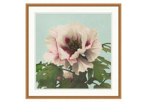 Wendover Art Pink Floral on Aqua 2- Wall Art