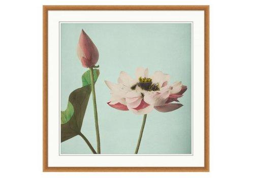 Wendover Art Pink Floral on Aqua 3- Wall Art