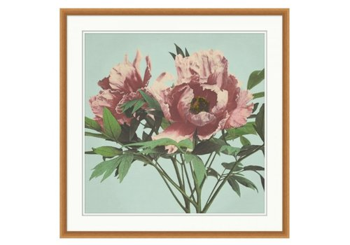 Wendover Art Pink Floral on Aqua 4- Wall Art (Warehouse)