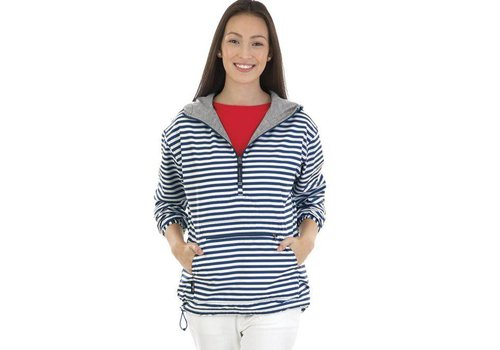 Charles River Apparel Navy Stripe Chatham Anorak