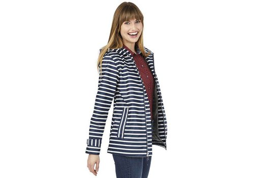 Charles River Apparel New Englander Raincoat - Navy Stripe