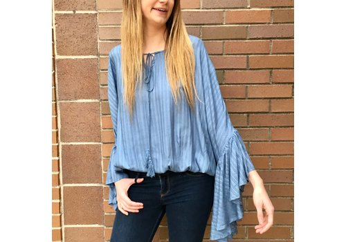 Big Sleeve Tie Neck Top-Dusty Blue