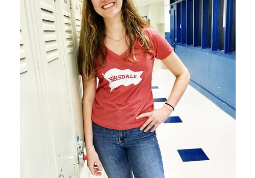 """My State Threads Red """"Hinsdale"""" White Pennant T-Shirt"""
