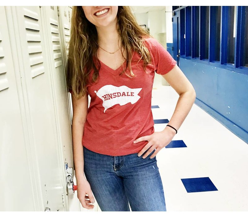 """Red """"Hinsdale"""" White Pennant T-Shirt"""