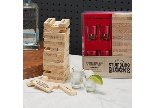 Two's Company Shot Glass Stumbling Blocks Drinking Game