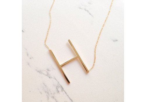 Initial Reaction Gold Vermeil Sideways Initial 16'' Necklace