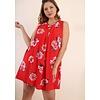 Umgee USA Chili Powder Mix Floral Print Sleeveless Dress