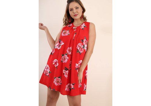 Umgee USA Chili Powder Mix Floral Print Sleeveless Dress
