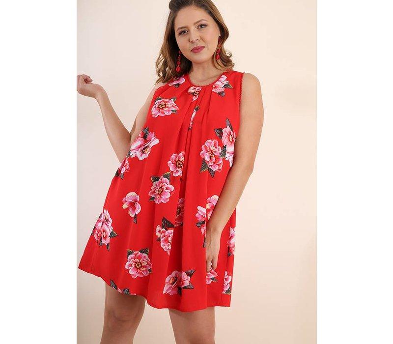 Chili Powder Mix Floral Print Sleeveless Dress