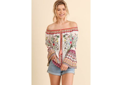 Umgee USA Cream Off Shoulder Floral Print Top
