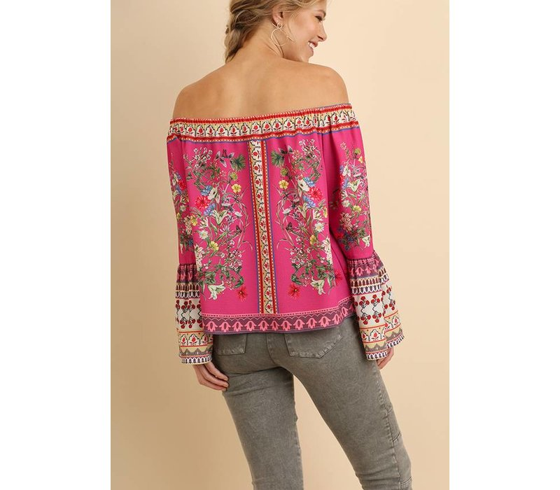 Fuchsia Off Shoulder Print Top