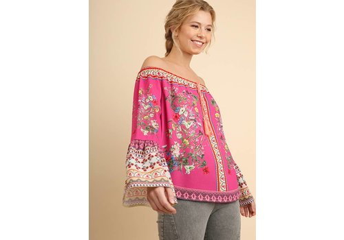 Umgee USA Fuchsia Off Shoulder Print Top