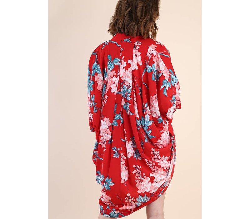 Red Mix Floral Print Open Kimono