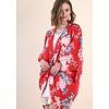 Umgee USA Red Mix Floral Print Open Kimono