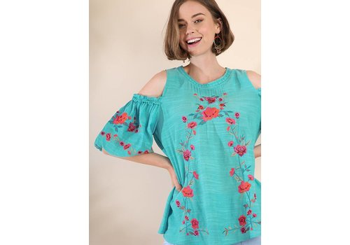 Umgee USA Floral Embroidered Cold Shoulder Top - Turquoise