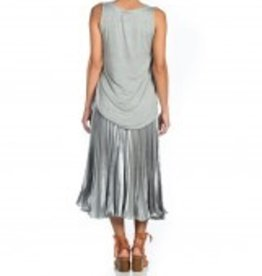 Maac London Metallic Grey Pleated Skirt