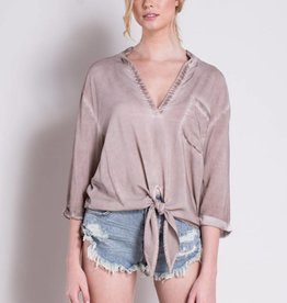 Mustard Seed Blush Tie Front Top