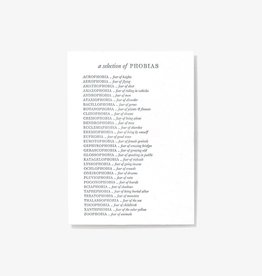 Set Editions Single Letterpress: Phobias