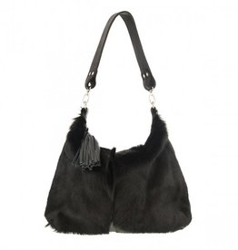 Vash Black Leather with Fur on Handbag
