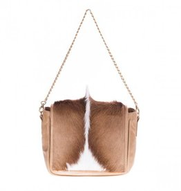 Vash Natural Bok Leather with Fur on Handbag