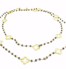 Erin Gray Petite Pyrite and Gold Clover Long Necklace