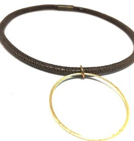 Erin Gray Thin Leather Choker with Circle Pendant