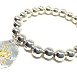 Erin Gray Teresa Sterling Silver Bead Bracelet with Cross Charm