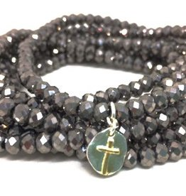Erin Gray 7 Stack Crystal Bracelet with Open Cross
