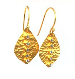 Erin Gray Vermeil and Crystal Leaf Earring