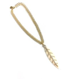 Kristalize Jewelry Ivory Leaf with Pave Detail Necklace