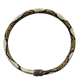 Kristalize Jewelry Genuine Leather Snake Print Magnet Choker