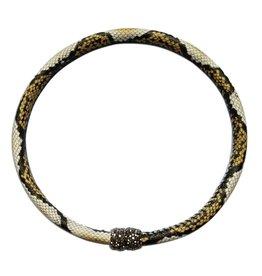 Kristalize Jewelry Genuine Leather Snake Print Magnet Choker