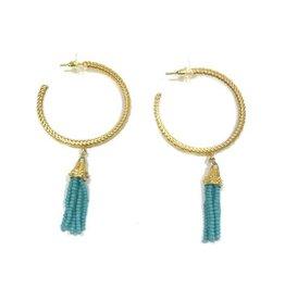 Kristalize Jewelry Turquoise Tassel Hoop Earring