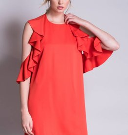 Do + Be Orange Ruffled Peplum Dress