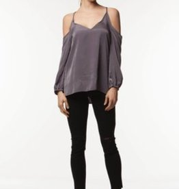 Standard by PPLA Grey Off The Shoulder Blouse w/Tie back