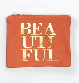 "8 Oak Lane Coral Canvas Pouch ""Beautiful"""