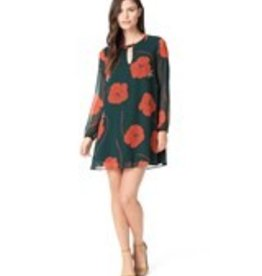 Cupcakes &Cashmere Forest Green Floral Print A-Line Dress