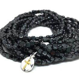 Erin Gray Hematite 14 Stack Bracelet with Tiny Cross