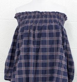 PPLA Navy Plaid Woven Off The Shoulder Blouse