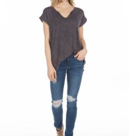 PPLA Charcoal Acid Wash Notch V-Neck Top