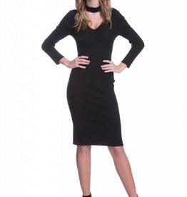 Endless Rose Black Rib Knit V-Neck Dress with Choker Neck